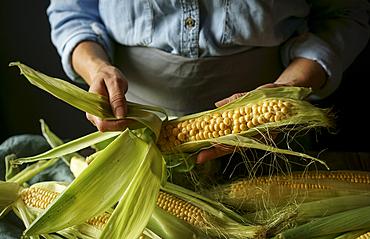 Close up of Caucasian woman shucking corn