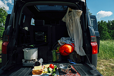 Food and camping gear in car