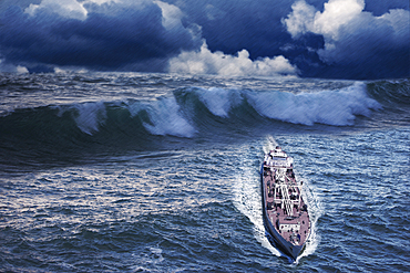 Enormous waves behind freighter