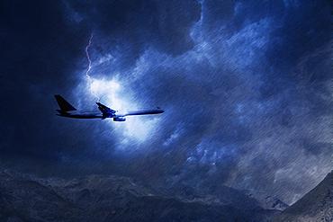 Lightning striking airplane flying in sky
