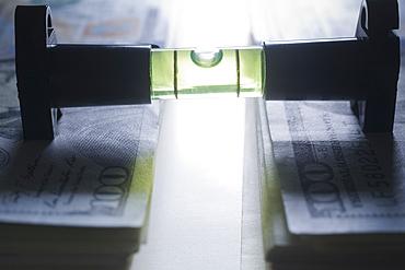 Level stacks of money