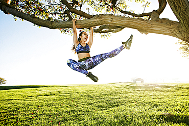 Happy mixed race woman hanging on tree branch