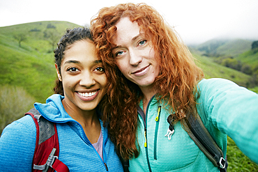 Portrait of smiling women hiking