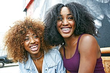 Women laughing outdoors