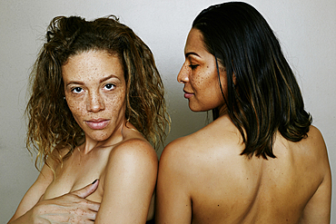 Close up of confident mixed race women