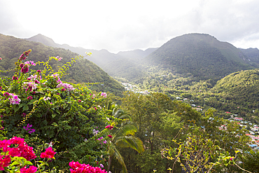 Scenic view of valley and mountains