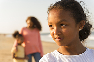 Portrait of confident girl at beach