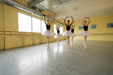 Girls dancing in ballet studio