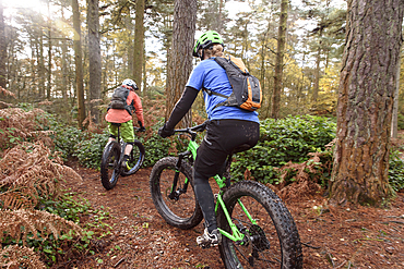 Caucasian couple riding bicycles in forest