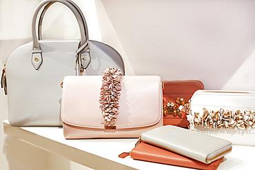 Luxury purses on display