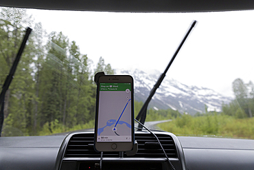 Cell phone navigation in car