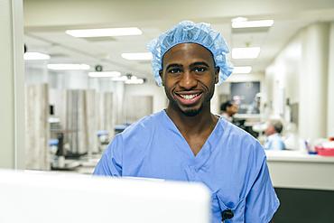 Portrait of smiling Black doctor in hospital