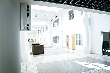 Empty hospital lobby