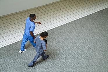 Nurses walking in the lobby