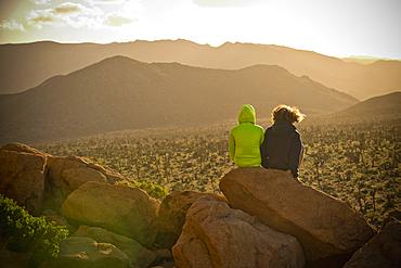 Boys sitting on rock admiring desert landscape