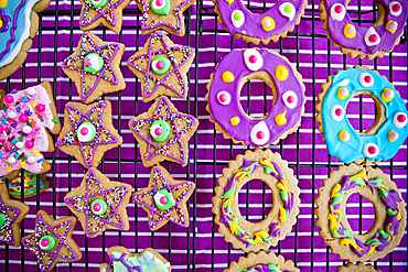Festive Christmas cookies with multicolor icing