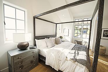 Canopy bed in modern bedroom