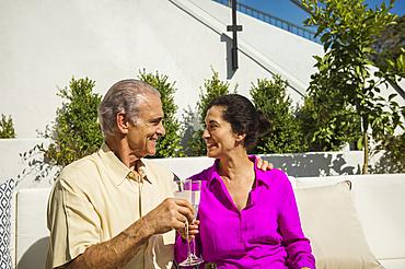 Older couple toasting on modern backyard patio