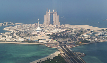 Aerial view of waterfront cityscape