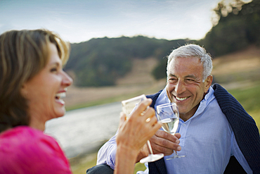Smiling couple toasting with wine