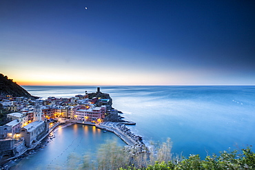 The blue hour in Vernazza, one of the many little villages in the Cinque Terre National Park, UNESCO World Heritage Site, Liguria, Italy, Europe