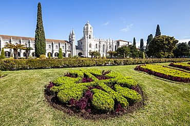 Jeronimos Monastery with late Gothic architecture, UNESCO World Heritage Site, surrounded by gardens, Santa Maria de Belem, Lisbon, Portugal, Europe