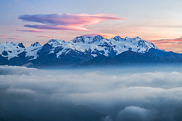 The peaks overlooking the Mont Avic Park, the first regional national park of the Valle d'Aosta, Piedmont, Italy, Europe