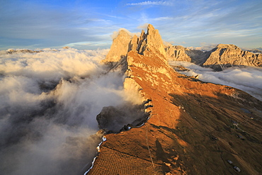 View from helicopter tour or the beautiful Dolomites, Geisler Group, South Tyrol, Italy, Europe