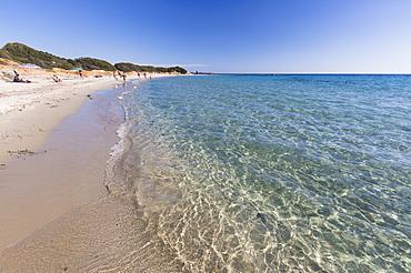 The crystal turquoise water of the sea frames the sandy beach, Sant Elmo Castiadas, Costa Rei, Cagliari, Sardinia, Italy, Mediterranean, Europe