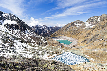 View of Lago Rotondo during thaw and Lake Baitone, Val Malga, Adamello Regional Park, Province of Brescia, Lombardy, Italy, Europe
