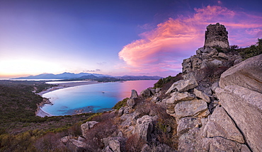 View of the bay and beaches from the stone tower at sunset, Porto Giunco, Villasimius, Province of Cagliari, Sardinia, Italy, Mediterranean, Europe
