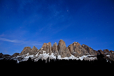 The starry sky above the Odle-Villnoss massif in the Puez-Odle Nature Park, South Tyrol, Italy, Europe