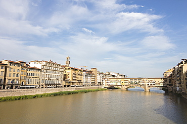 View of Ponte Vecchio, a medieval stone arch bridge on the Arno River, one of the symbols of Florence, UNESCO World Heritage Site, Tuscany, Italy, Europe