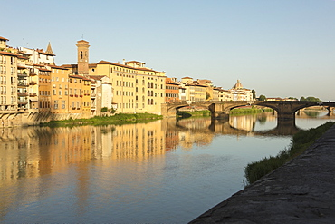 View of Ponte Della Vittoria on the Arno River with Brunelleschi's Dome in the background, Florence, UNESCO World Heritage Site, Tuscany, Italy, Europe