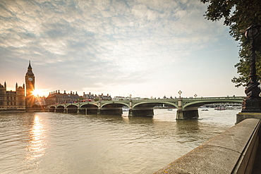Westminster Bridge on River Thames with Big Ben and Palace of Westminster in the background at sunset, London, England, United Kingdom, Europe