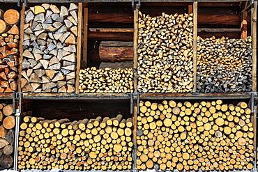Details of firewood stack, Switzerland, Europe