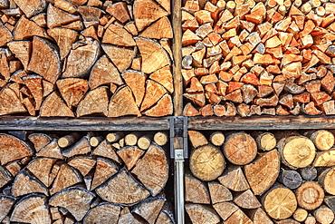 Close up details of firewood stack, Switzerland, Europe