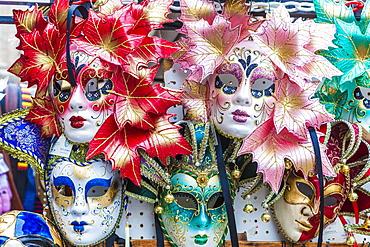 Colourful masks of the Carnival of Venice, famous festival worldwide, Venice, Veneto, Italy, Europe