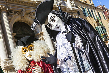 Colourful masks and costumes of the Carnival of Venice, famous festival worldwide, Venice, Veneto, Italy, Europe