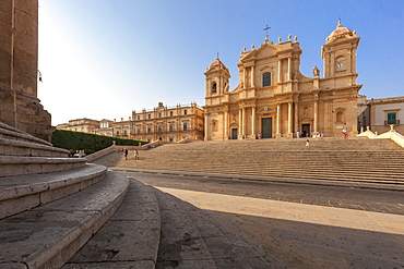 Flight of steps frames the ancient facade of Cattedrale di San Nicola di Mira, Noto, UNESCO World Heritage Site, Province of Syracuse, Sicily, Italy, Europe