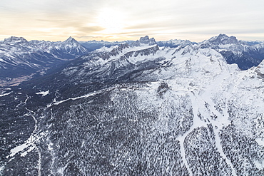 Aerial view of the snowy ridges of the Cinque Torri, Dolomites, Cortina d'Ampezzo, Province of Belluno, Veneto, Italy, Europe