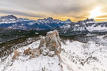 Aerial view of the snowy ridges of the Cinque Torri at dawn, Dolomites, Cortina d'Ampezzo, Province of Belluno, Veneto, Italy, Europe