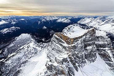 Aerial view of the rocky peaks of Monte Pelmo at dawn, Zoldo, Dolomites, Province of Belluno, Veneto, Italy, Europe