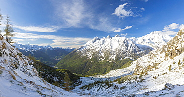 Panorama of Alpe Fora with Monte Disgrazia in the background, Malenco Valley, Province of Sondrio, Valtellina, Lombardy, Italy, Europe