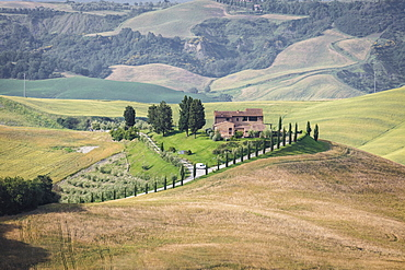 Green rolling hills and farm houses of Crete Senesi (Senese Clays), Province of Siena, Tuscany, Italy, Europe