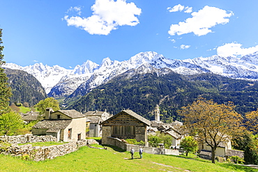 View of Soglio between meadows and snowy peaks in spring, Maloja, Bregaglia Valley, Engadine, canton of Graubunden, Switzerland, Europe
