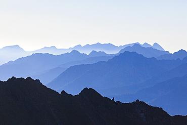 Profiles of peaks of Brenta Dolomites from Tonale Pass, Valcamonica, border of Lombardy and Trentino-Alto Adige, Italy, Europe