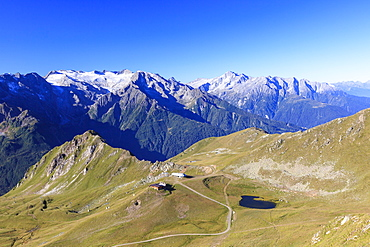Green meadows and alpine lake framed by the high peaks in the Adamello Ski Area, Tonale Pass, Valcamonica, Lombardy, Italy, Europe
