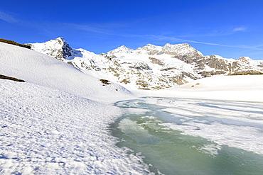 Spring thaw at Bernina Pass, St. Moritz, Upper Engadine, Canton of Graubunden, Switzerland, Europe