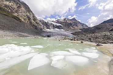 The glacial lake at the foot of Fellaria Glacier, Malenco Valley, Valtellina, Lombardy, Italy, Europe